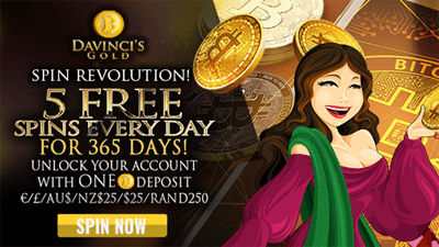 DaVinci's Gold homepage - five free spins everyday