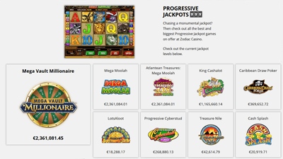 A selection of Microgaming progressive jackpots at Zodiac