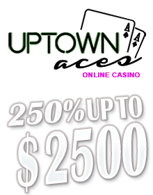 Uptown Aces logo and bonus offer